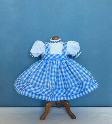 "Tagged Madame Alexander BLUE & WHITE GINGHAM JUMPER DRESS ~ For 8"" Dolls ~ Mint"