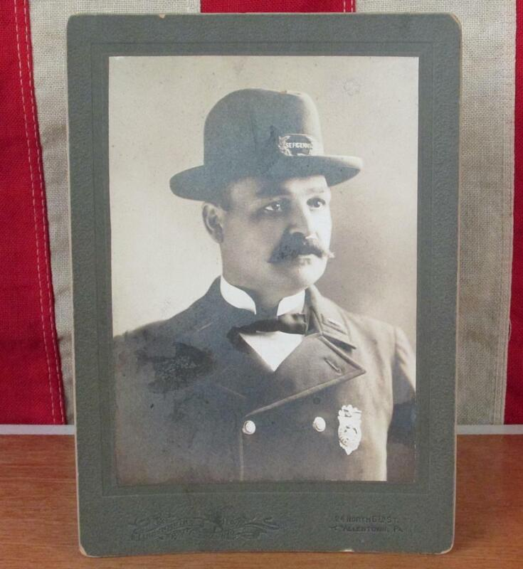 Vintage Antique Police Cabinet Card Photograph Sgt.John Stainer Allentown,PA