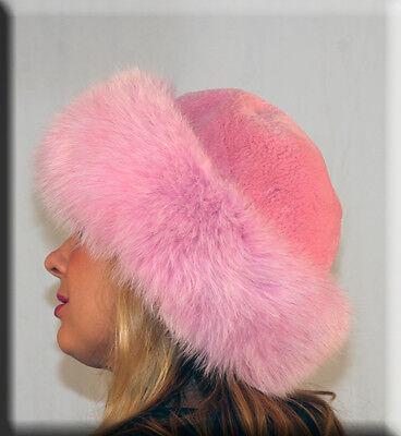 New Pink Sheared Beaver Fur Hat Pink Fox Fur Trim Efurs4less ()