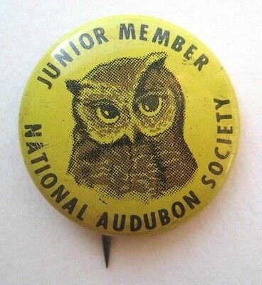 VINTAGE Pinback Junior Member NATIONAL AUDUBON SOCIETY Junior Member OWL