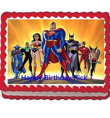 Justice League Birthday  Frosting Sheet Party Edible Cake Topper 1/4 icing sheet - Justice League Cake