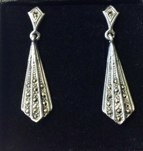 Antique Art Deco 1920s Kite Fan drop dangle Marcasite Earrings Sterling Silver