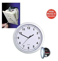 NEW HIDDEN WALL OUTLET SAFE & SILVER WALL CLOCK WITH HIDDEN SAFE (10x10)