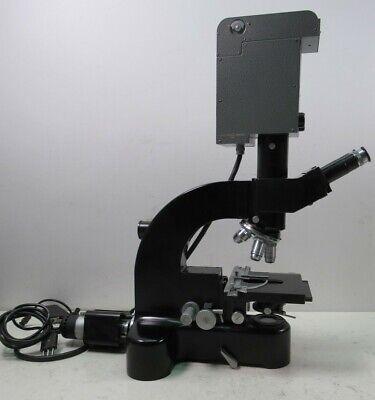 Leitz Wetzlar Ortholux Trinocular Microscope Germany W Orthomat Black Era 5 Lens