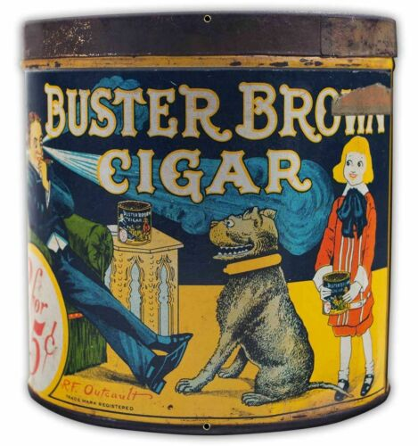 """BUSTER BROWN CIGAR CAN SHAPED 15"""" HEAVY DUTY USA MADE METAL ADVERTISING SIGN"""