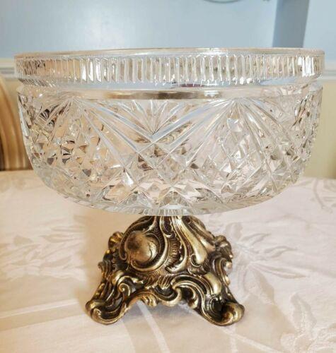 Vintage Pedestal Centerpiece Bowl Gold Base Cut Glass Compote Hobstar Loevsky