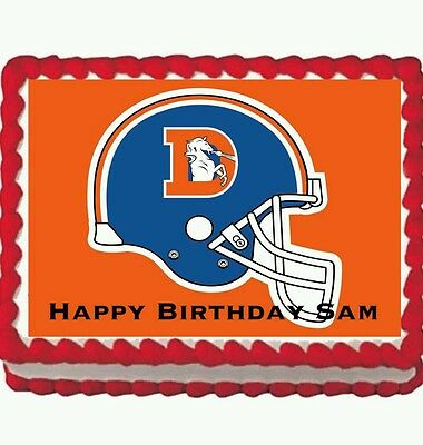 Denver Broncos Birthday Party Edible Frosting Cake Topper 1/4 sheet