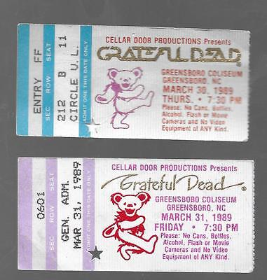 GRATEFUL DEAD TICKET STUBS  GREENSBORO COLISEUM  SPRING 1989 **MAIL ORDER**