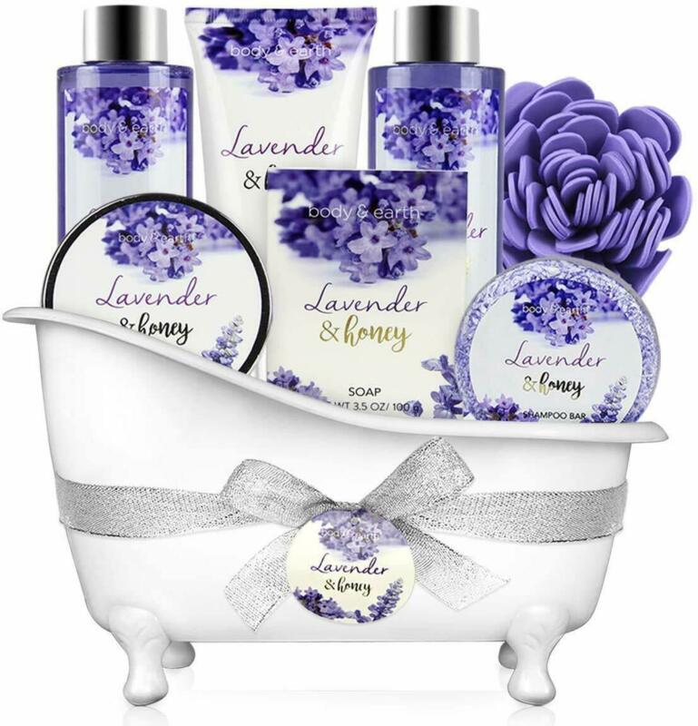Spa Gift Set,8pcs Body & Earth Bath Body Gift Basket in Lavender Honey Her Gift