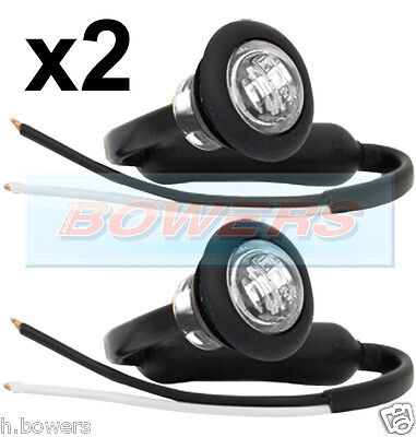 2x 12V/24V FRONT WHITE/CLEAR SMALL ROUND LED BUTTON MARKER LAMP/LIGHTS UNIVERSAL
