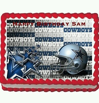 Dallas Cowboys  Birthday Party Edible Frosting Cake Topper 1/4 frosting sheet - Dallas Cowboy Birthday Cake