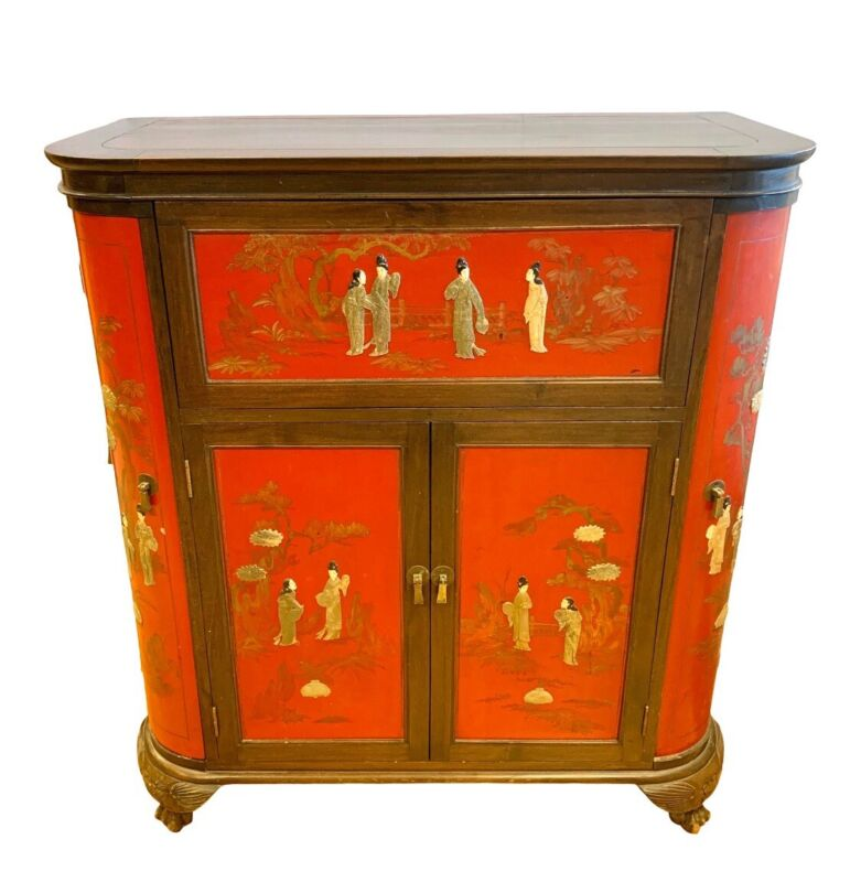 Asian Chinese Red Lacquer Floating Dry Bar Liquor Chinoiserie Cabinet