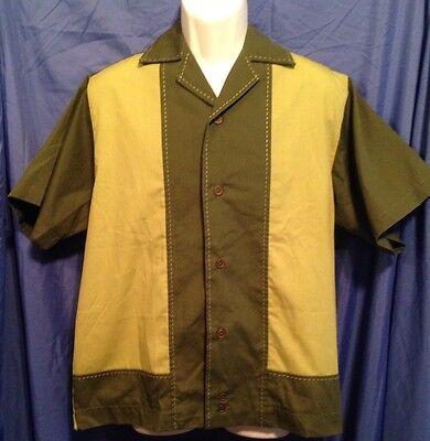 LANDAU Button Down Shirt Mans Size L Olive/Lime Green EUC