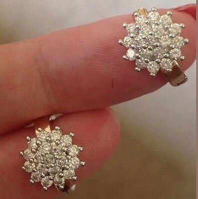 18K Yellow Gold Diamond Cluster Earrings 278