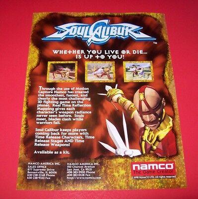 Namco SOUL CALIBUR 1998 Original NOS Video Arcade Game Promo Sales Flyer Adv.