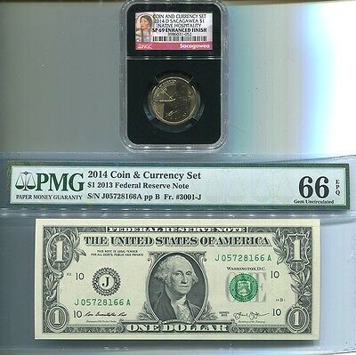 2 SETS 2014 D COIN & CURRENCY SET W ENHANCED SACAGAWEA NGC SP69   $1 NOTE PMG 66