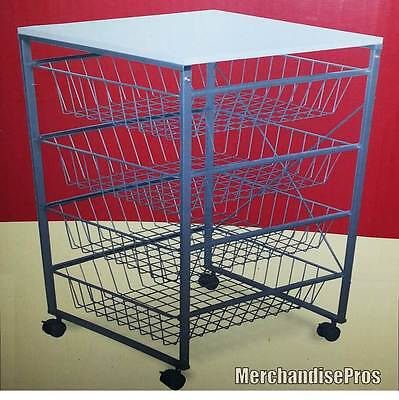 LALA 4-DRAWER WIRE STEEL MOBILE STORAGE CART WITH TOP SHELF  NEW IN BOX!