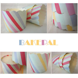 30 CANDY PASTEL SOFT MIX COLOURED STRIPES CUPCAKE CASES/MUFFIN CUPS