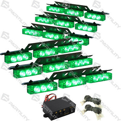 54 Green Led Vehicle Strobe Flash Lights Front Grill Car Truck Traffic Advisor