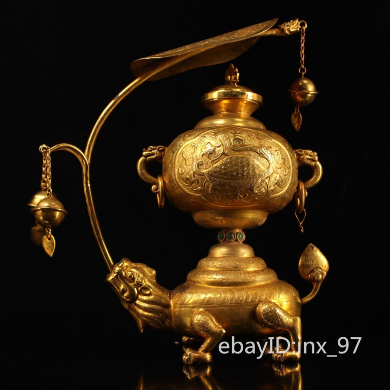 """10""""China collection Tang Dynasty Pure Copper Gilt Seiko Casting Beast chandelier"""