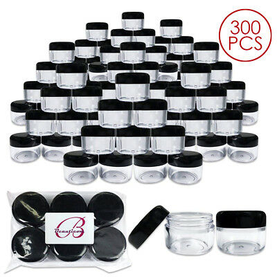300 Pieces Beauticom 30G/30ML Clear Plastic Refillable Jars with Black Round Lid