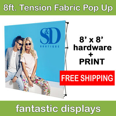 8ft Collapsible Pop Up Display With Tension Fabric Backdrop Print Included
