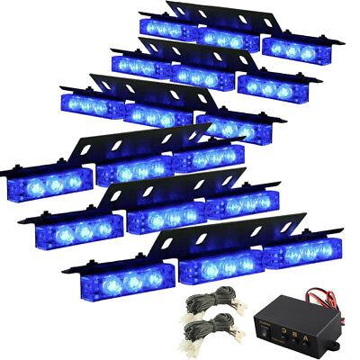 54 LED BLUE Emergency Warning Strobe Hazard Lights Bars Deck Dash Grill Advisor Led Emergency Vehicle Lights