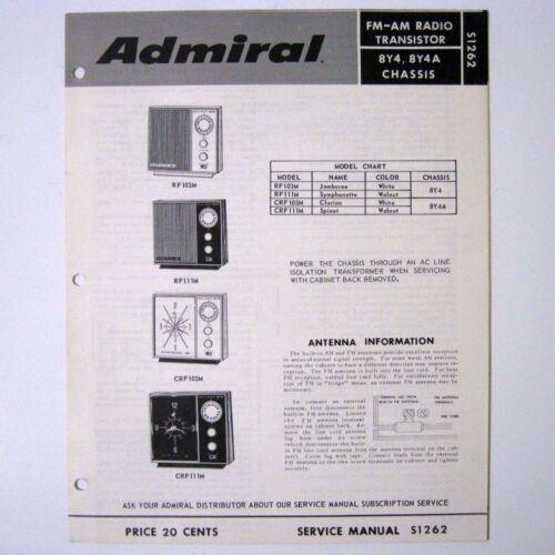 Admiral ® Model RF103M RF111M Chassis 8Y4 8Y4A AM FM Radio Service Manual © 1971