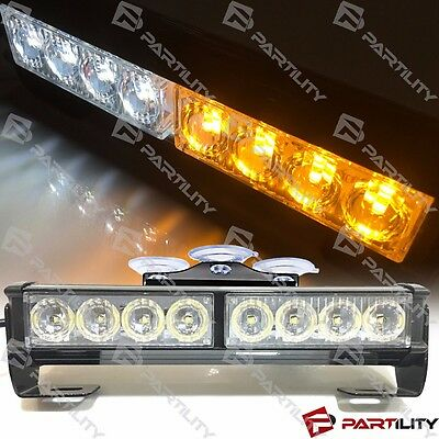 9 Inch Led White Amber Light Emergency Warn Strobe Flash Bar Hazard Security