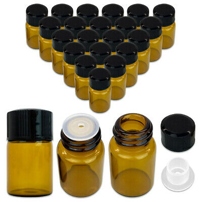 24 Pieces 2ml Essential Oil Perfume Small Sample Glass Vials Bottles Containers