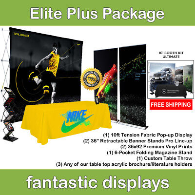 Complete Trade Show Booth 10 Pop Up 2 Banner Stands Table Throw Etc.