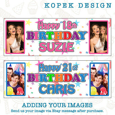 Birthday Banners With Photo Personalized (2 x Personalised Birthday Party Banners with Photo - ANY NAME/AGE KIDS)