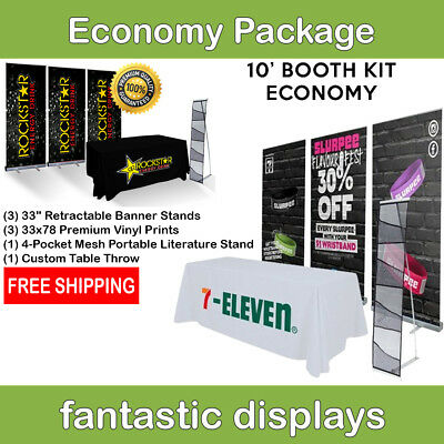 Complete Trade Show Booth 3 Banner Stands Table Throw Brochure Holder