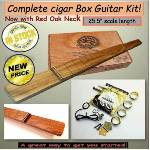 "Cigar Box Guitar Complete Kit, for 25.5"" S/L 3 String R /L Handed Free Shipping"