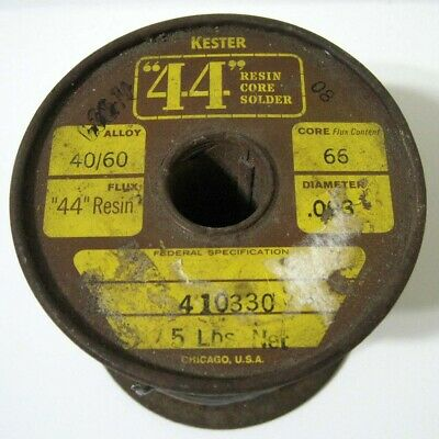 Antique Kester 44 Resin Core 0.93 4060 Solder - 5 Pound Spool With 3 Pounds