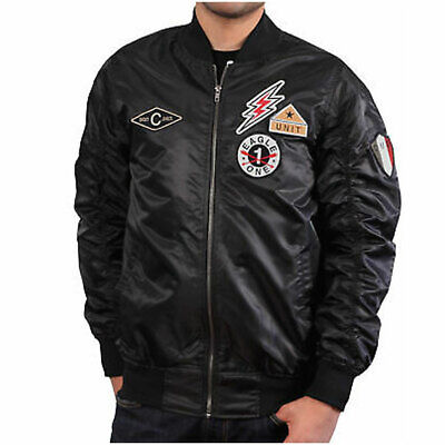 BLEECKER AND MERCER BOMBER JACKET WITH AVIATION PATCHES MENS (Wearing Aviators)