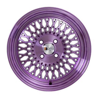 """F1R Wheels F01 Rims 15x8 4x100 +25 Offset 2.75"""" Stepped Lip Machine Purple NEW"""