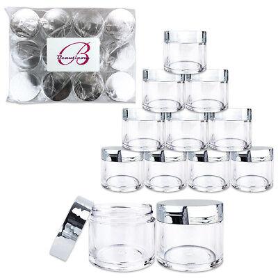 Clear Plastic Jars With Lids (Beauticom® (12 PCS) 30G/30ML High Quality Clear Plastic Jars with Silver)