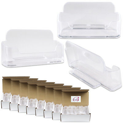 100pcs Clear Acrylic Business Card Holder Display Stand Desktop Countertop