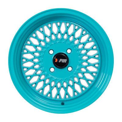 "F1R Wheels F01 Rims 15x8 4x100 +25 Offset 2.75"" Stepped Lip Teal Blue-Green NEW"