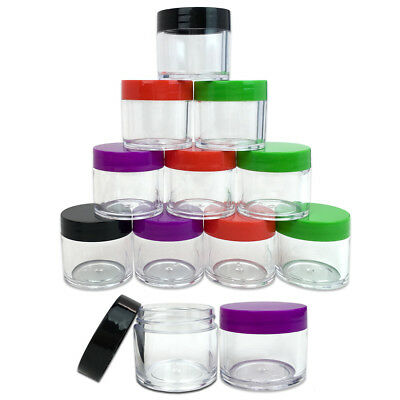 1 Oz Plastic Jar (12pcs 30g / 30 gram Large empty clear plastic Sample cream makeup Jar 1 oz 30ml)