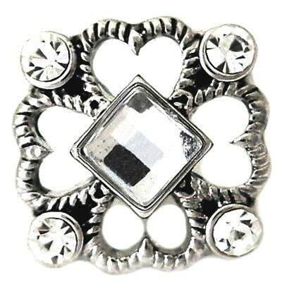 Silver Hearts White Rhinestone 20mm Snap Charm Interchangeable For Ginger Snaps White Hearts Snap
