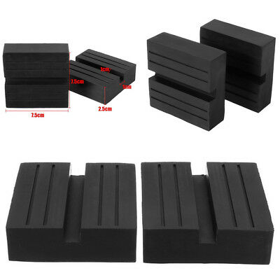 - 2x 7.5CM Car Slotted Frame Rail Floor Jack Guard Adapter Lift Square Rubber Pads