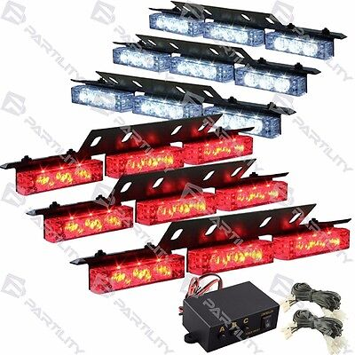 54 Led Red White Emergency Truck Car Strobe Flash Light Front Rear Grill