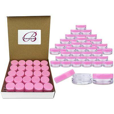 50 Pack 3 Gram/ML Pink Lid Plastic Makeup Cosmetic Cream Sample Jar Containers