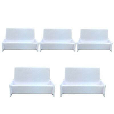 5pcs White Acrylic Business Card Holder Display Stand for Office Desk ()