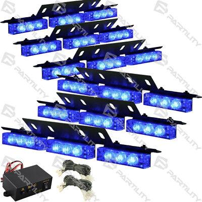 54 Blue LED Emergency Vehicle Strobe Flash Lights Front Grill Car Truck Traffic Led Emergency Vehicle Lights