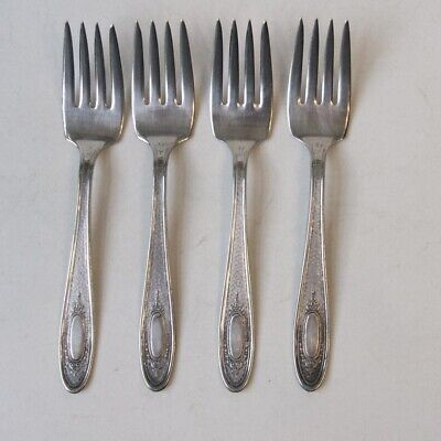 National Silver SEB Four Hammered Silverplate Flatware 4 Salad Forks National Silver Four
