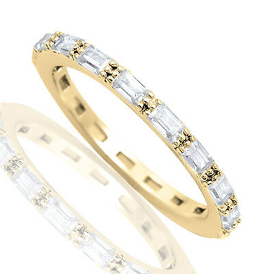 Yellow Gold Finish Baguette Simulated Diamond Eternity Stackable Silver Ring