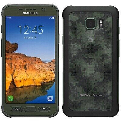 Samsung Galaxy S7 Active 32gb Green Camo AT&T Unlocked LCD Lines Discounted!
